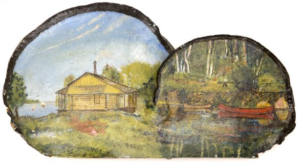 Painted fungus showing lakeside log building on left and canoes in water on right
