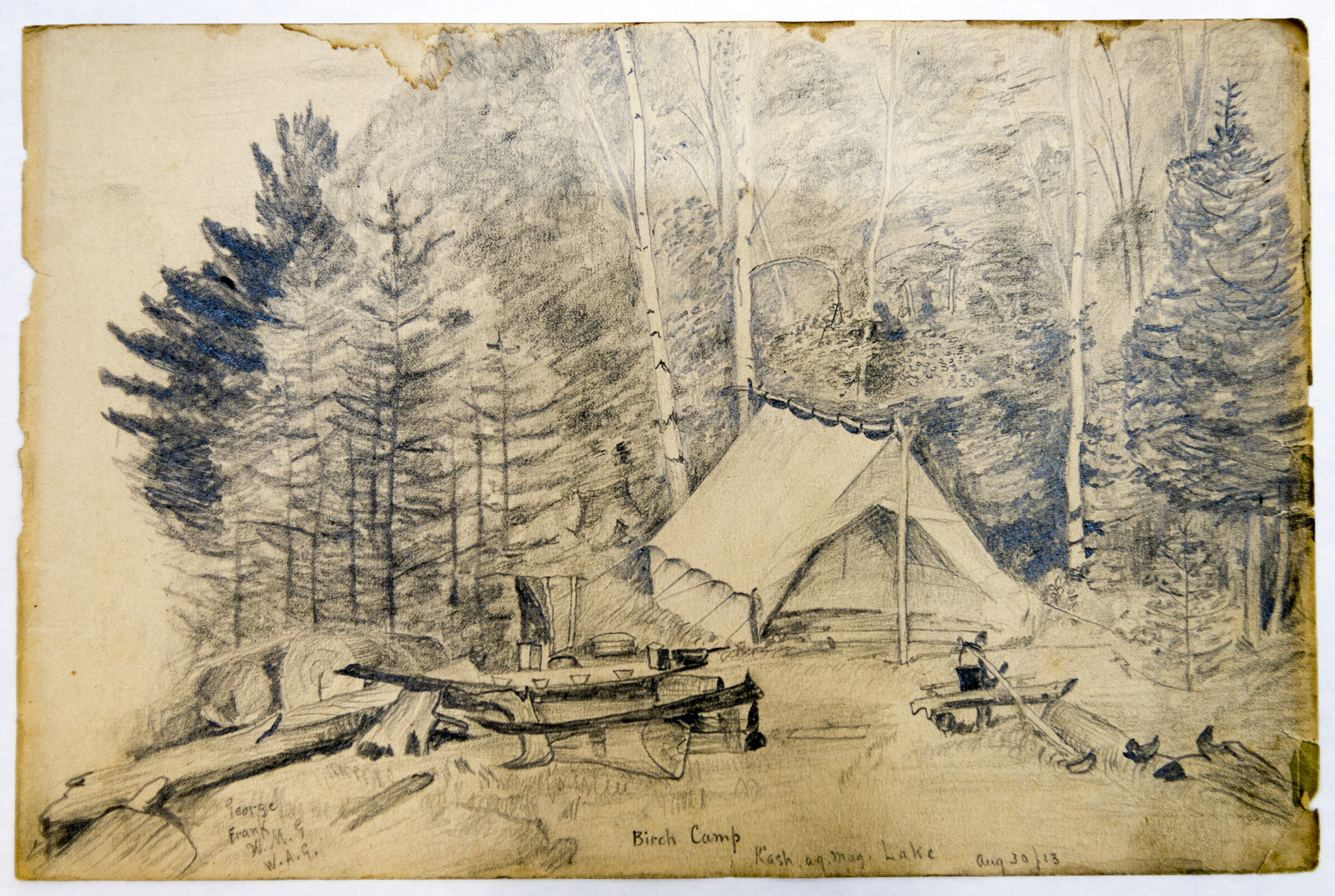 Black-and-white pencil drawing of large tent and assorted camping supplies