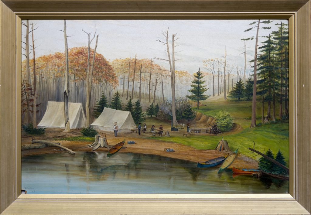 Painting of men gathered at a campsite with canoes in foreground and several tall trees in background