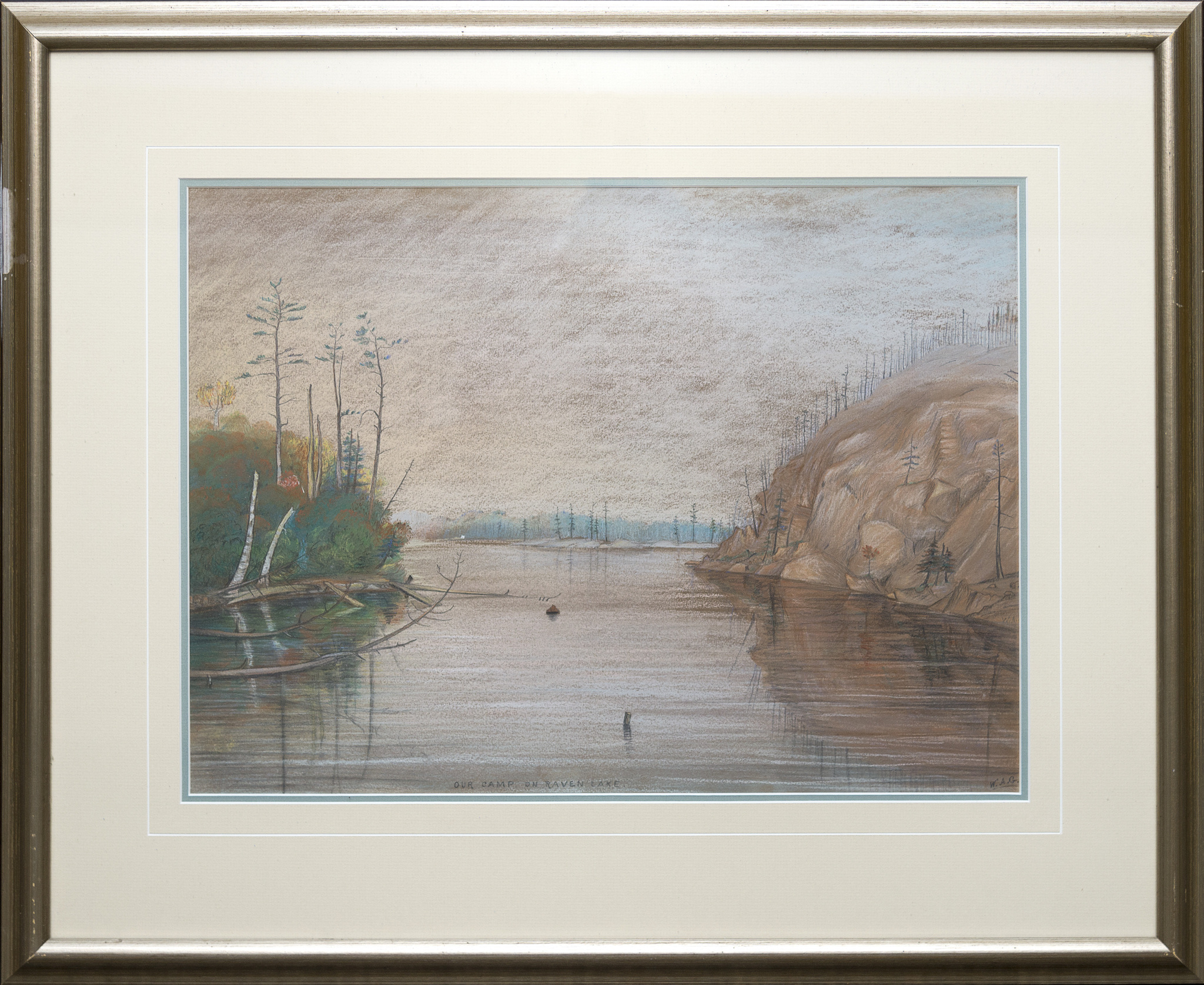 Pastel drawing of lake scene, bordered by trees and cliffs.