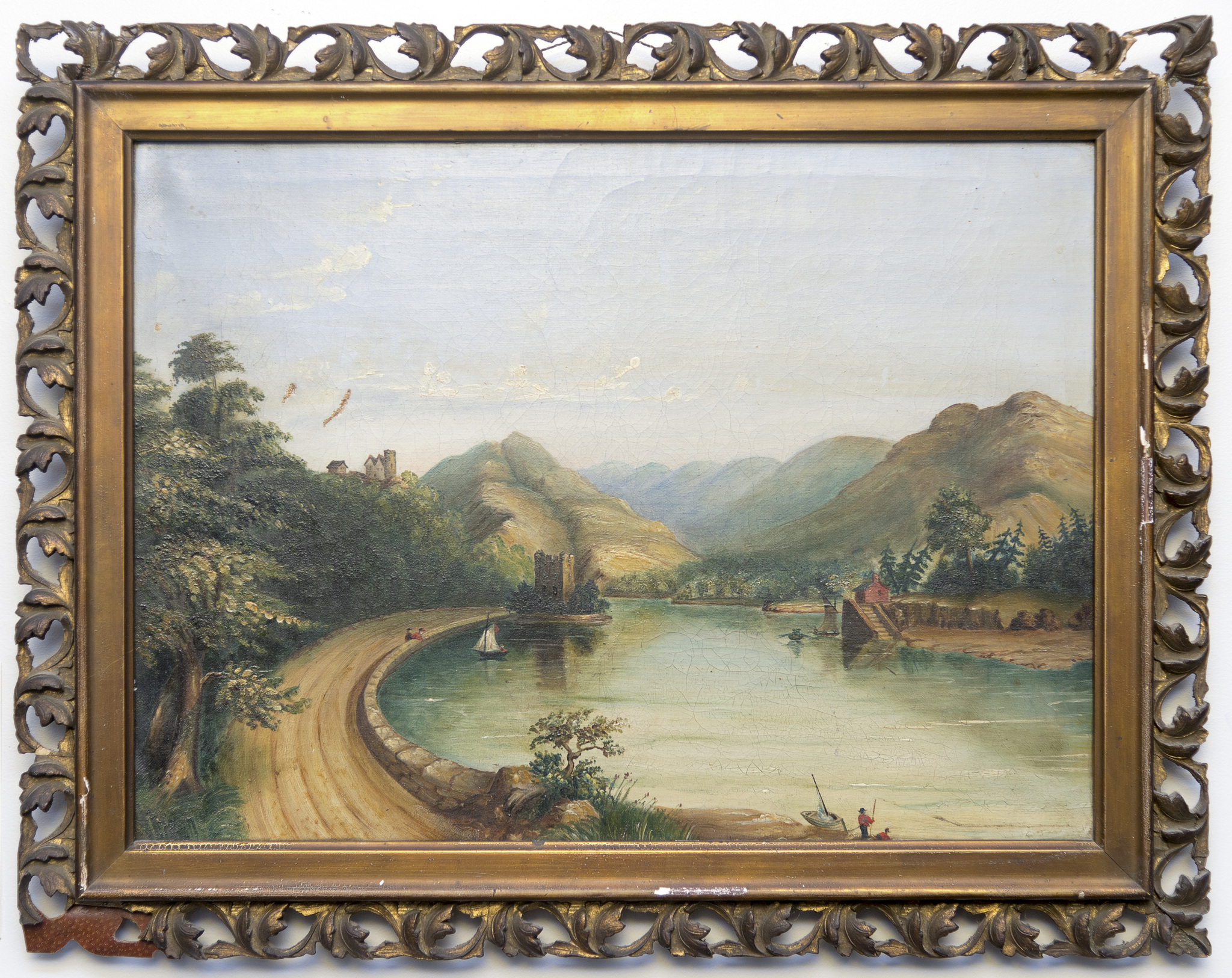 Image of framed riverside scene surrounded by hills, with sailboat and castle to the left of centreed