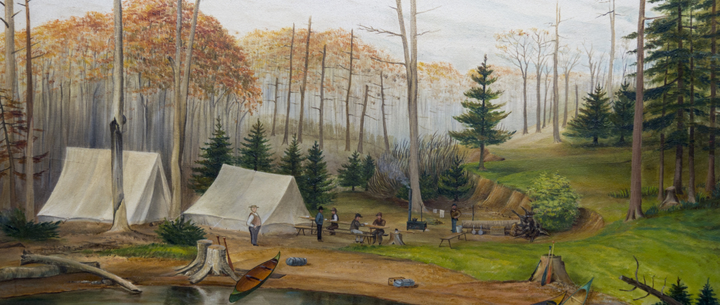 Painting of men gathered at a campsite with canoes in foreground and several tall trees in background.