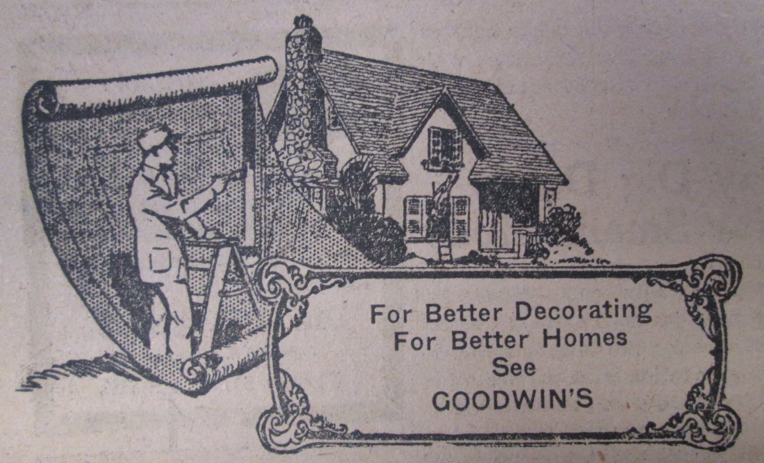 Image of illustrated advertisement showing a man on a ladder behind a giant roll of wallpaper, looking towards a house