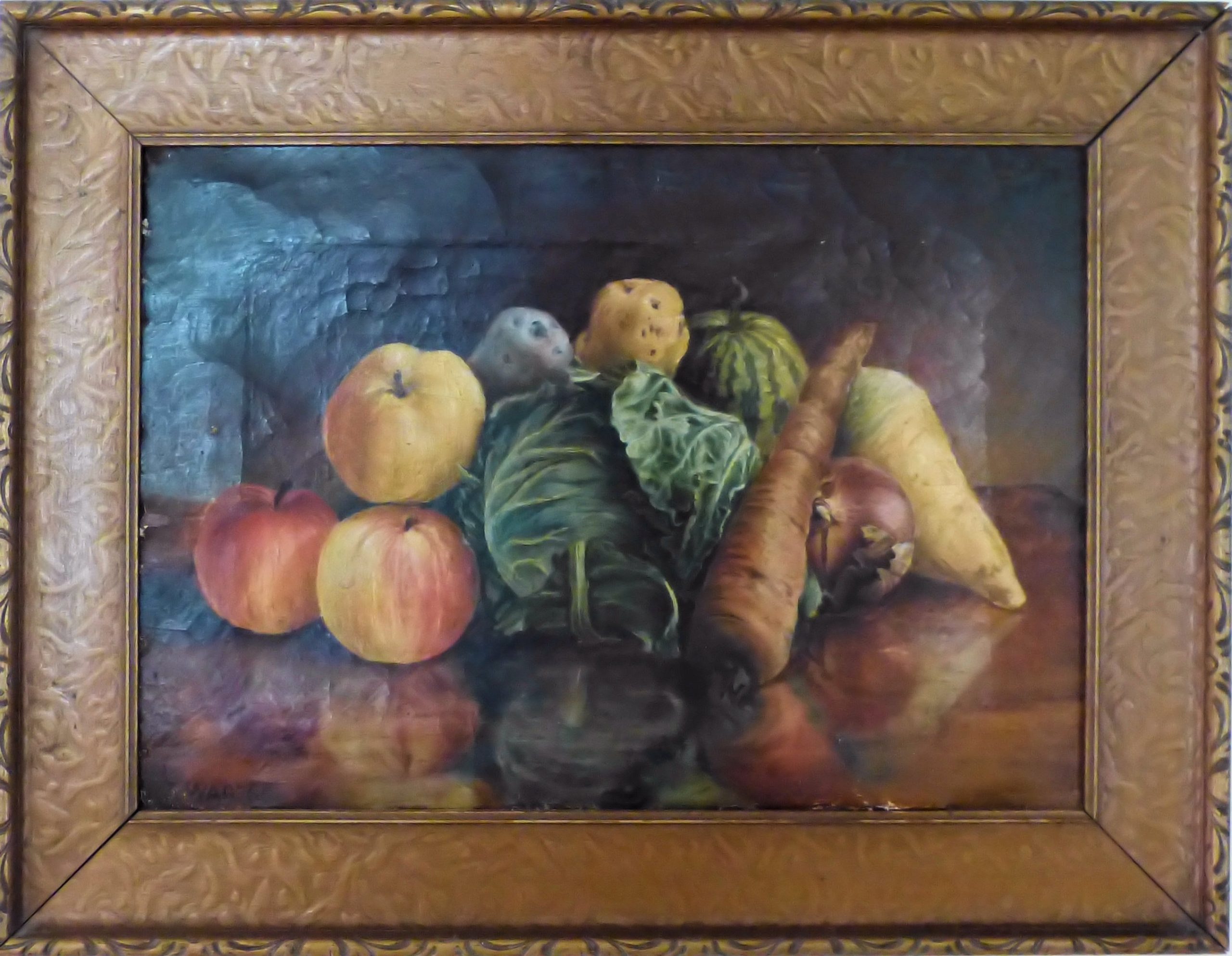 Arrangement of fruits and vegetables, reflected in surface of table