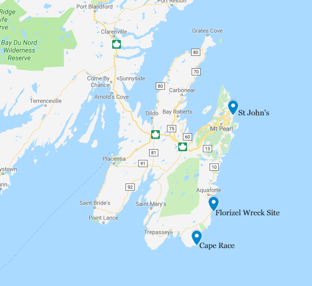 Map of the Avalon peninsula showing locations to the Florizel including: St. John's, the Florizel Wreck Site, and Cape Race