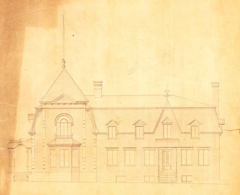 Drawing of the south side of the manor. All the architectural details are included.
