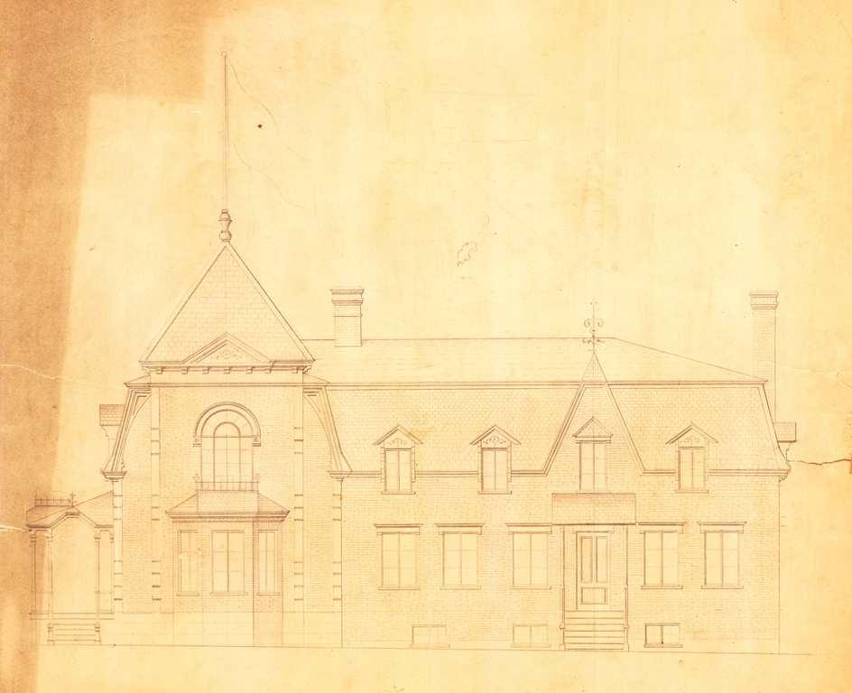 Dessin de l'élévation sud du manoir. Tous les détails architecturaux sont reproduits.