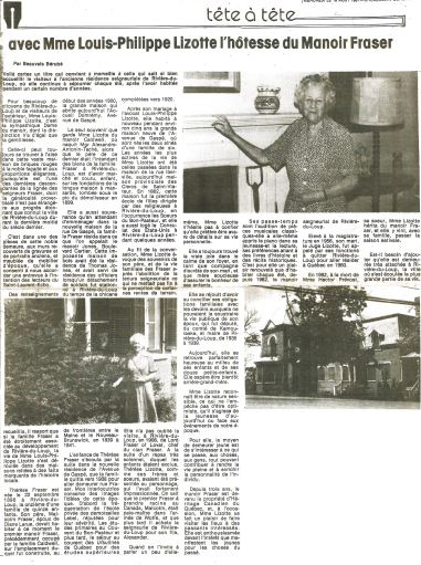 Newspaper article with the headline A conversation with Madame Louis-Philippe Lizotte, hostess of Manoir Fraser and three photographs: Thérèse Fraser Lizotte outside, Thérèse inside the manor, and a view of the exterior of the building.