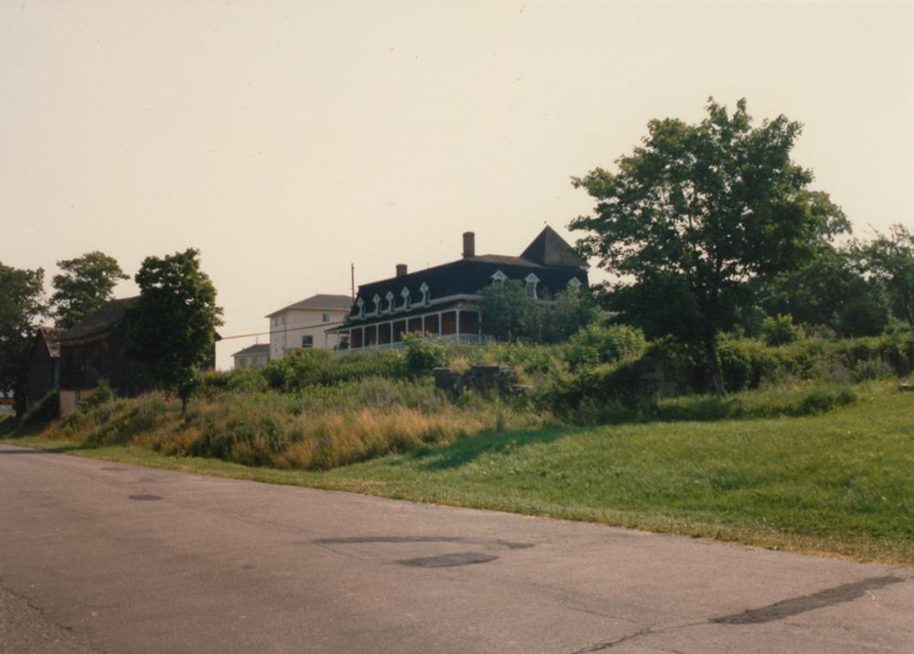 Photo couleur. Terrain en friche avec quelques arbres matures. En arrière-plan, une maison.
