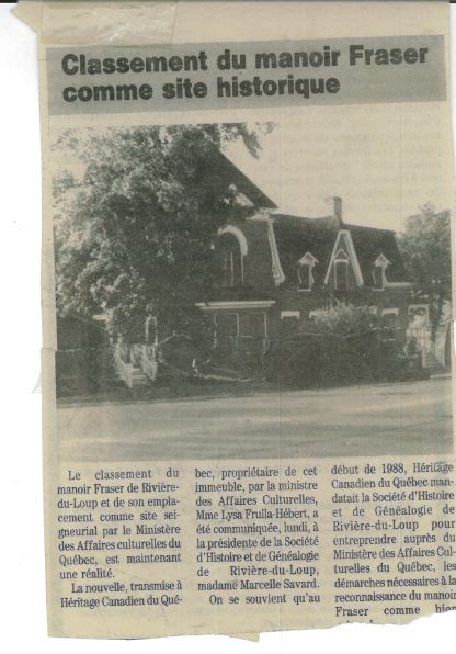 Newspaper article with the headline Classification of Manoir Fraser as a historical site and a photograph of the Manoir.