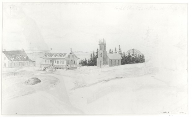 Black-and-white image of a watercolour painting of a winter landscape showing a small church with a central steeple and two houses with pitched roofs. The river appears in the background.