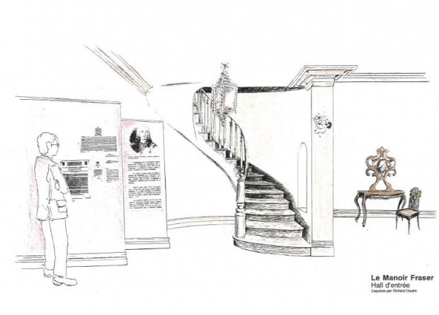 Colour drawing of the entrance hall of Manor Fraser. On the left, a man reads the explanatory panel. In the centre is a staircase, and on the right, a table and a chair.