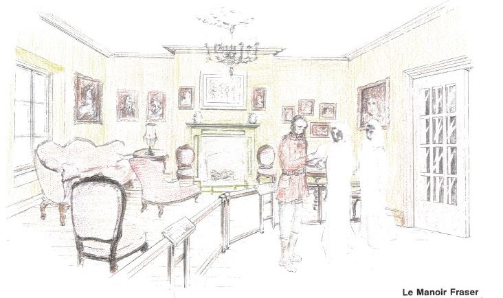 A colour drawing of a richly appointed drawing room furnished with several chairs, paintings, and a fireplace. In the foreground, a man is explaining something to two listeners, depicted only by their faces.