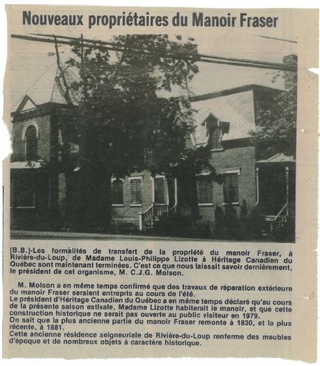 "Newspaper article with the headline ""New owners of Manoir Fraser"" and a photo of the manor."