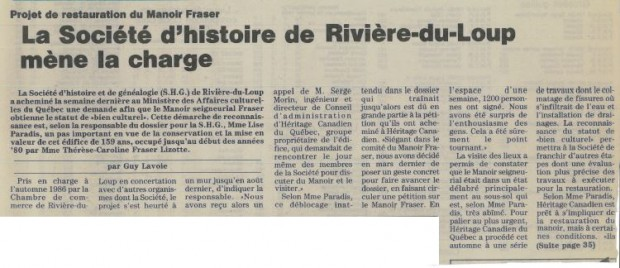 Newspaper article with the headline La Société d'histoire de Rivière-du-Loup leads the charge.
