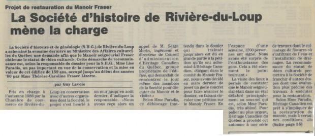 Newspaper article with the headline La Société d'histoire de Rivière-du-Loup leads the charge.