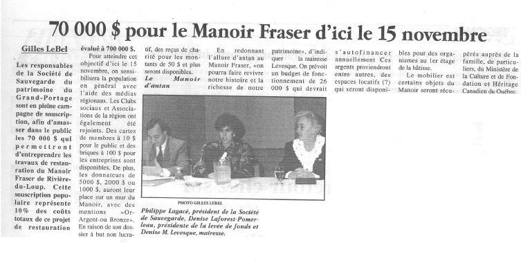 Newspaper article with the headline $70,000 for Manoir Fraser before November 15 and a photograph of a man and two women sitting at a table.