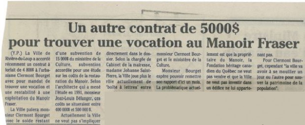 Newspaper article with the heading Another $5,000 contract to find a vocation for Manoir Fraser.
