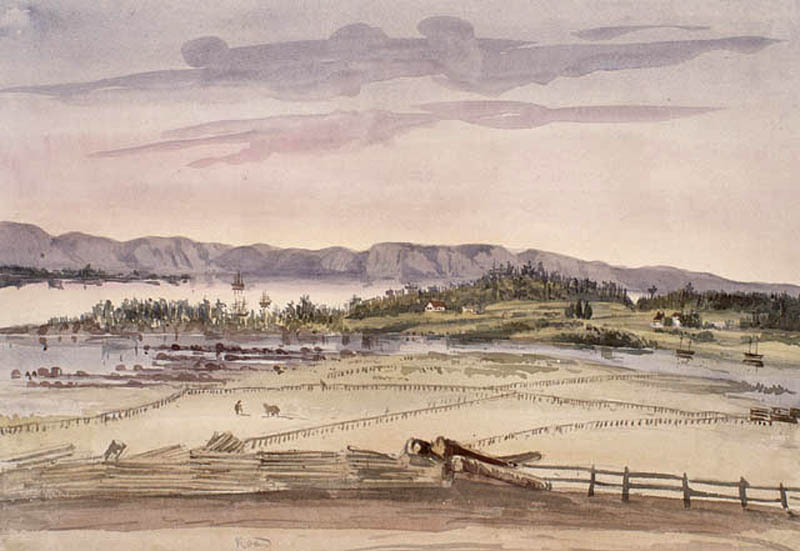 A watercolour painting of a landscape with fenced fields in the foreground and a few houses in the distance. A river and mountains are in the background.