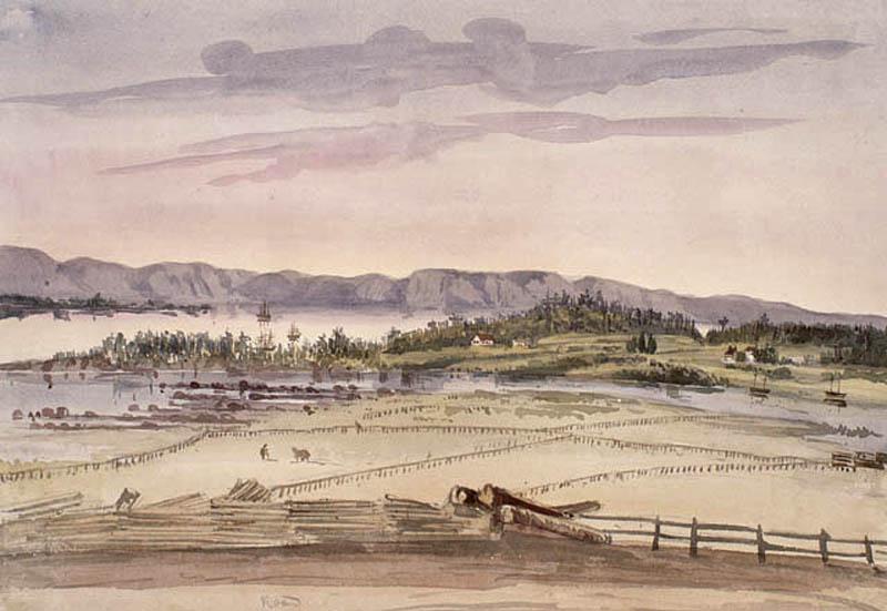 Aquarelle en couleur. Paysage montrant de nombreux champs clôturés à l'avant-plan ainsi qu'une rivière et quelques lointaines habitations. À l'arrière-plan, on distingue le fleuve et les montagnes.