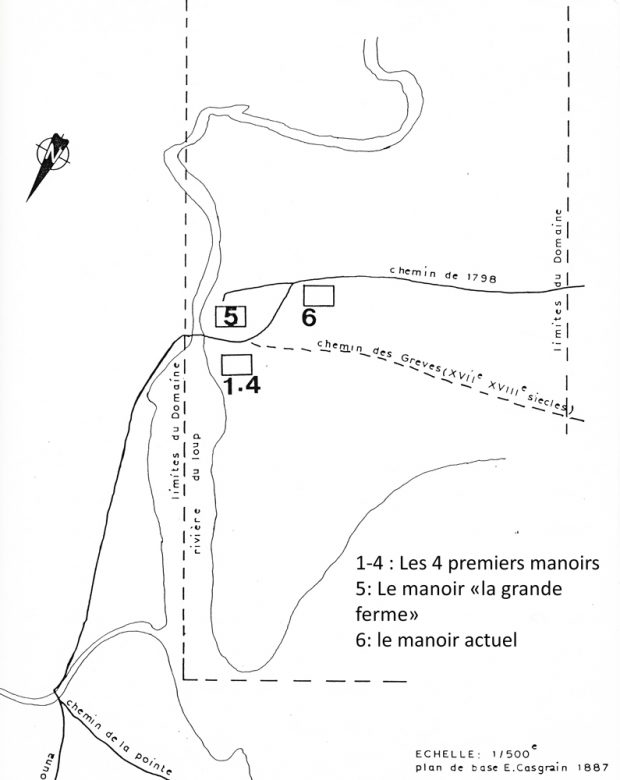 Black-and-white image of a map of the seigniorial domain showing the location of the manors near the Rivière du Loup river.