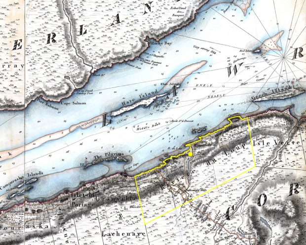 Colour image of a map showing the boundaries of the Seigniory of Rivière-du-Loup.