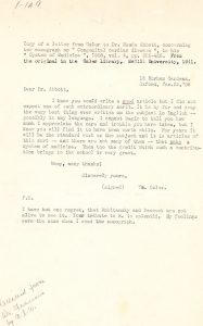 Copy of a letter from Dr. Osler to Dr. Maude Abbott dated January 23, 1908, black ink on sepia paper. The doctor congratulates her on the quality of an article she wrote.