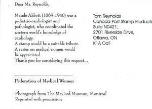 Face verso de la carte postale de Maude Abbott de la Federation of Medical Women.