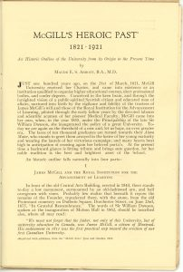 """First page of text of McGill's Heroic Past, printed in 1921, black ink on sepia paper. The first half of the page provides an introduction to the book. This is followed by the beginning of the first of four parts, entitled """"I – James McGill and the Royal Institution for the Advancement of Learning""""."""