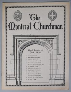 """Cover of The Montreal Churchman of June 1934, black ink on sepia paper. The top of the page contains the title """"The Montreal Churchman"""". To the left of the title is the coat of arms of the Diocese of Montreal. Below the title is a drawing of a stone doorway with a pointed arch, inside which is written """"Church Calendar for June, 1943"""" followed by a list of events for the month."""