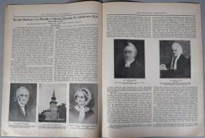 """Pages 8 and 9 of The Montreal Churchman of June 1934, black ink on sepia paper. The top of the left-hand page indicates the title of the article: """"Social History of the Parish of Christ Church, St. Andrews, Que. From 1818 to 1875 By Maude Elizabeth Seymour Abbott, B.A., M.D., McGill University, Montreal."""" This is followed by two columns of introductory text. The lower third of the page contains three black and white photographs: Rev. Joseph Abbott; Christ Church, St. Andrews; and Mrs. Joseph Abbott (Harriet Anne Bradford). The two columns of text continue on the right-hand page with, in the centre of the page, two photographs of Rev. William Abbott and Mrs. William Abbott."""