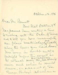 Handwritten letter from Maude Abbott to former prime minister R. B. Bennett (Richard Bedford Bennett) dated October 13, 1936, black ink on sepia paper. She describes the October 3, 1936 dedication ceremony for the Sir John Joseph Caldwell Abbott memorial. She says she is pleased with the enthusiasm of the people of the region for the event, and thanks the former prime minister for his interest and help in organizing it.