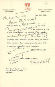 Correspondances pour l'ouverture du Musée: Lettre de Maude Abbott à J.P. Lanctôt concernant la visite du Ministre des Mines et des Ressources m. Crerar et de l'ancien Premier ministre R.B. Bennet à l'ouverture du Musée 2 juin 1938.
