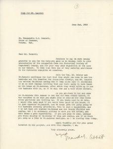 Copie d'une lettre dactylographiée de Maude Abbott à R.B. Bennett datée du 2 juin 1938. Elle le remercie pour son aide auprès de la Société historique du comté d'Argenteuil et la caserne et l'invite à venir la visiter à St-Andrews.