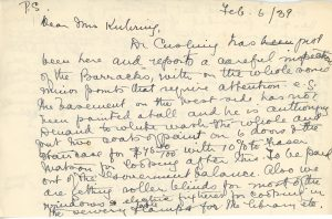 Lettre manuscrite de Maude Abbott è Mrs. Kuhring, 5 février 1939, papier sépia et encre noire et violette. Elle mentionne qu'elle n'était pas assez bien pour le voyage en train et en voiture jusqu'à Lachute, répond et pose des questions en lien avec la dernière lettre de Mrs. Kuhring sur les affaires du Musée, explique que sa convalescence est douloureuse à cause d'une fracture et d'une ancienne blessure.