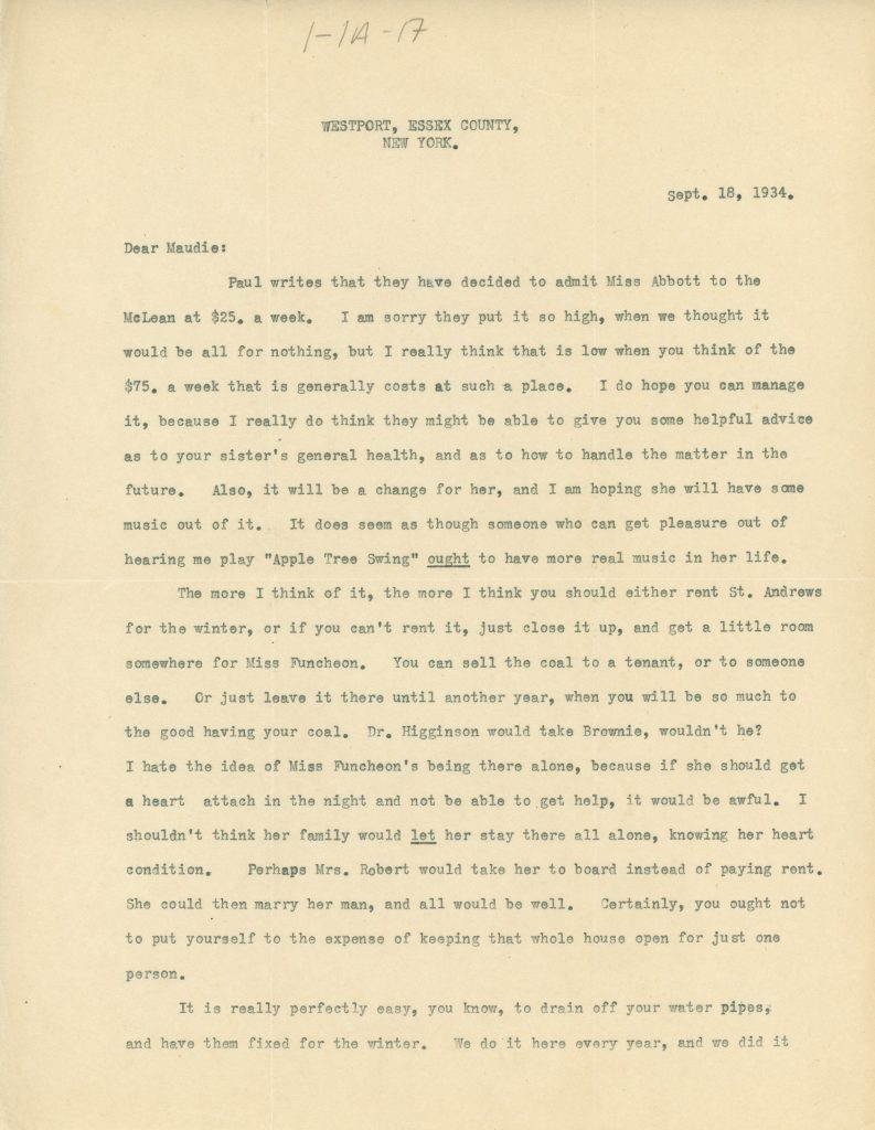Typewritten letter from Mary Lee to Maude Abbott dated September 18, 1934, 2 pages, black ink on sepia paper. The letter discusses Alice's admission to McLean Hospital, Elmbank, and news from the city.
