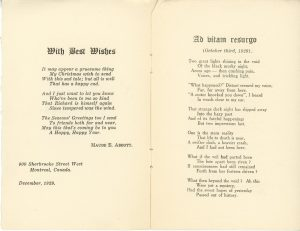 """Christmas booklet written by Maude Abbott in December 1929, 6 pages, black ink on sepia paper. The cover bears the single word """"Christmas"""", while the following pages contain Christmas wishes from Maude Abbott and two of her poems, """"Ad vitam resurgo"""" and """"My Mind""""."""