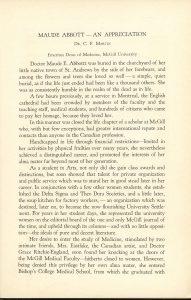 Première page du texte « Maude Abbott – An Appreciation » du Dr. C.F. Martin, doyen émérite de médecine de l'Université McGill, encre noire sur papier sépia. Il décrit son lieu de sépulture, son service funéraire, puis commence à décrire son parcours scolaire.