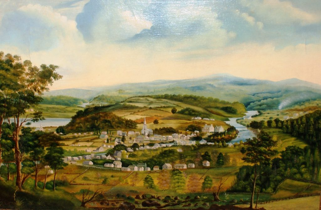 Oil landscape of the village of Saint-André-d'Argenteuil in summer; colour. The foreground shows deciduous and evergreen trees and green fields. Behind these, the village with its houses and white church is surrounded by two rivers on the left and right. A hill covered in green and ochre farmland rises behind the village. Indistinct blue hills can be seen in the distant background. The sky is cloudy, blue and white.