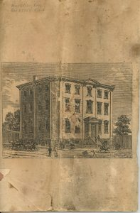 Last page of the University of Bishop's College booklet, black ink on sepia paper. Engraving of a university-style building at Bishop's College. It is a three-storey pale stone building surrounded by high wooden fences. Trees can be seen at the rear. There are pedestrians, a horse, a carriage, and a cart in front of and beside the building.