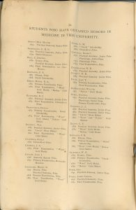 """Page 34 of the University of Bishop's Collage booklet, sepia. This page presents a list of students having obtained honours in medicine at Bishop's. The top of the page reads: """"Students who have obtained Honors in Medicine in this University"""". The list of students is in two columns, and the first name is """"ABBOTT, Miss Maude – 1892. Practical Anatomy, Senior Prize."""""""