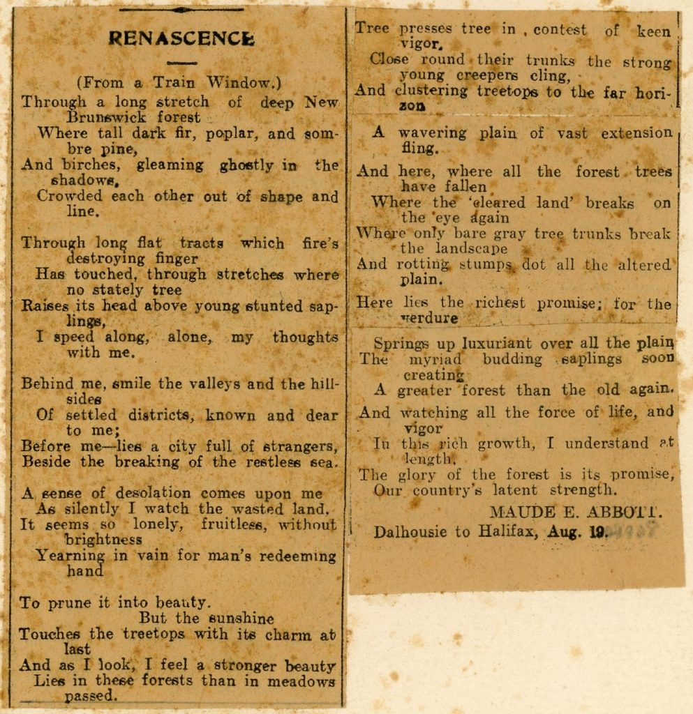 Clipping of a poem written by Maude Abbott, black ink on sepia paper, published in the women's edition of the Montreal Daily Witness.