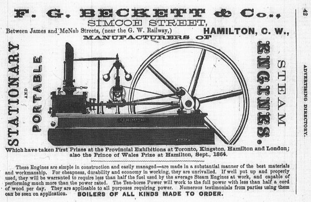 A printed advertisement for F.G. Beckett's steam engine, which highlights that the stationary and portable steam engines took First Prize at the provincial exhibitions. The advertisement includes an illustration of the product.