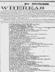 An advertisement taken out in the Hamilton Spectator by merchants who opposed the league. The segment of the list is dozens of names long, including the E & C. Gurney Foundry.