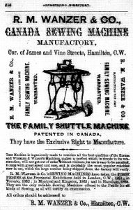 A printed advertisement from R.M. Wanzer & Co. highlighting their new family shuttle sewing machine. The ad includes information on how to place your order and an illustration of the new product.