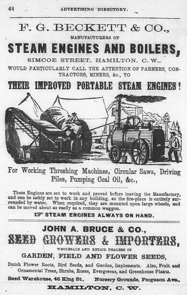 Annonce imprimée des moteurs et chaudières à vapeur de F.G. Beckett & Company, comportant une illustration et une description des « moteurs à vapeur portatifs améliorés » de l'entreprise.