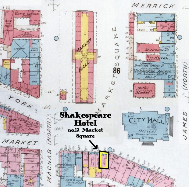 A multi-coloured insurance map of Old Market Square. The image provides basic blueprints for dozens of structures on the perimeter of the square. In text, the map highlights the location of the Shakespeare Hotel in the south-west corner of Old Market Square.