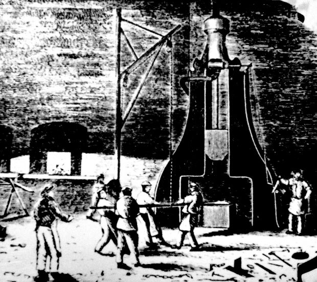 A black and white illustration of four workers stoking the fires of the steam forge drop hammer, while three workers look on. The workers are featured in the foreground of the image with an industrial shop floor as the background.