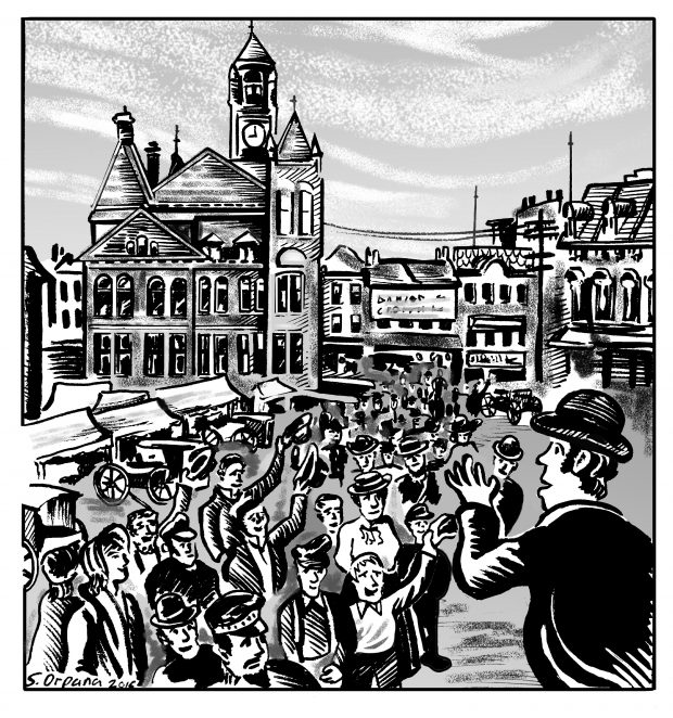 An illustration of James Ryan addressing a crowd in Old Market Square. Ryan is in profile as he faces a crowd of onlookers in the centre of the market. Around the edges of the illustration are temporary outdoor market stalls and permanent commercial buildings.