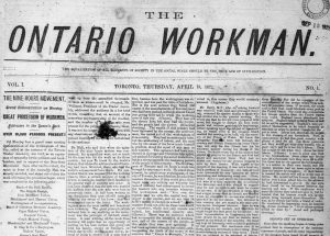 Front page of the newspaper, Ontario Workman, announcing a grand demonstration by the Nine Hours Movement.
